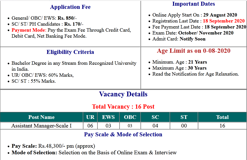 NHB Bank Assistant Manager Online Form 2020