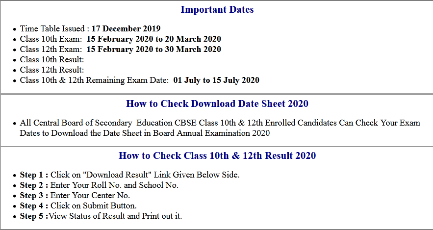 CBSE Board Class 10th & 12th Remaining Exam Date Sheet 2020