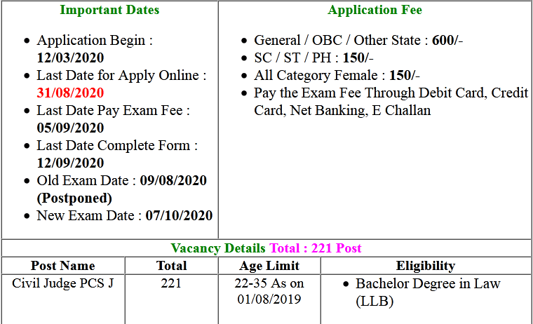 Bihar BPSC Civil Judge Pre Exam Date and Rejected List 2020