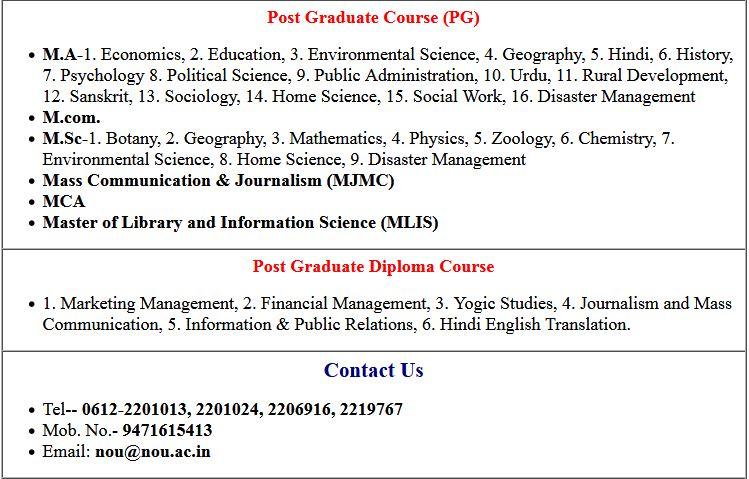 Nalanda Open University (NOU) Admission Online Form 2020