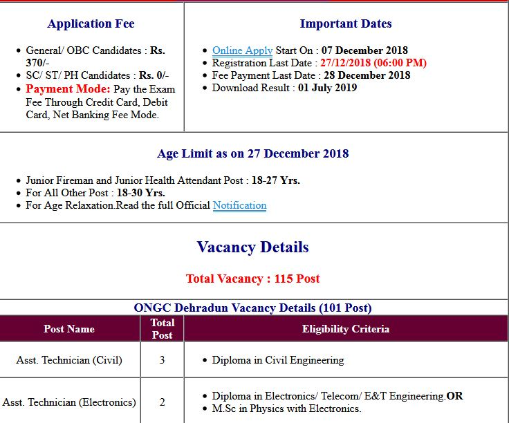 ONGC Non Executive Skill Test/Physical Test Admit Card 2019
