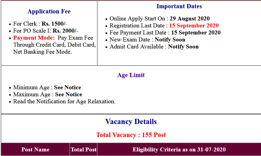 Nainital Bank Clerk, PO Online Form 2020