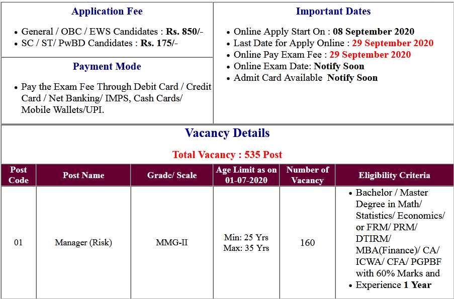 Punjab National Bank PNB SO Online Form 2020