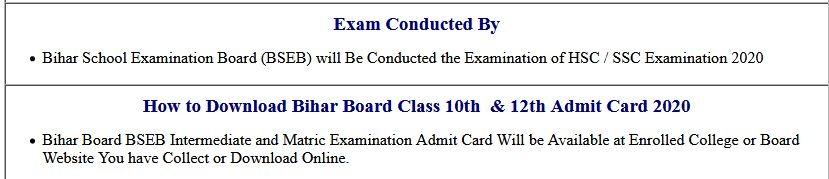 BSEB Bihar Board Class 10th & 12th Dummy Admit Card 2021