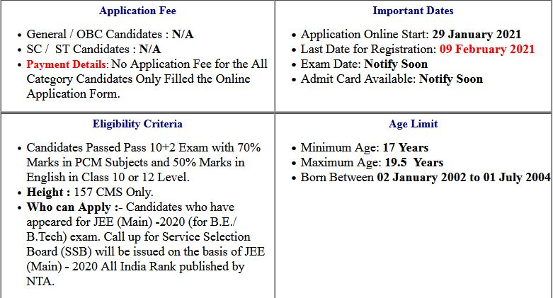 Indian Navy 10+2 -B.Tech Cadet Entry July 2020 Online Form 2021