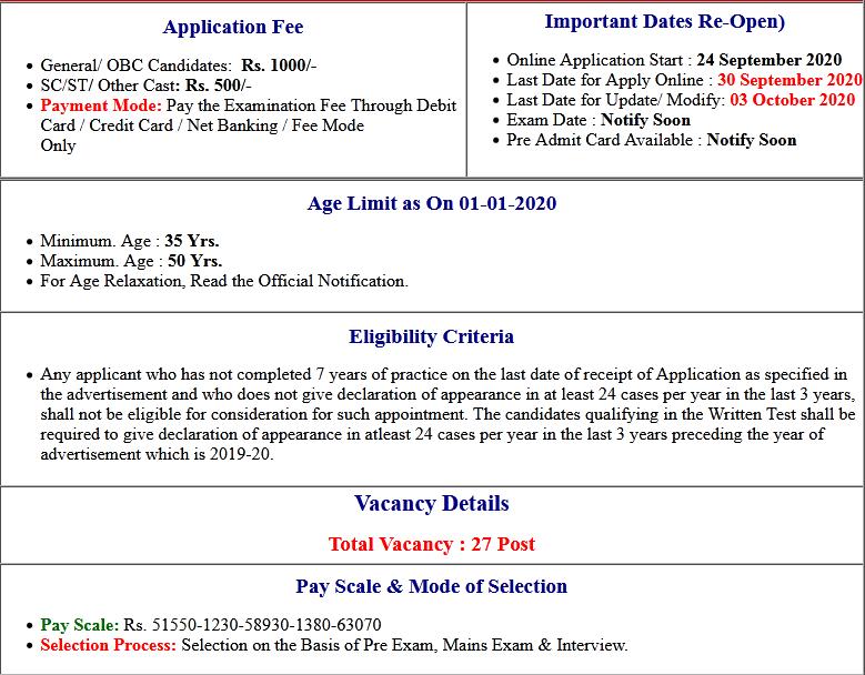 Patna High Court District Judge Online Form 2020 (Re-Open)