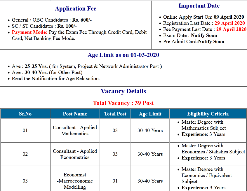 RBI Bank Lateral Recruitment Online Form 2020