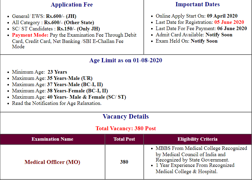 JPSC Medical Officer Online Form 2020