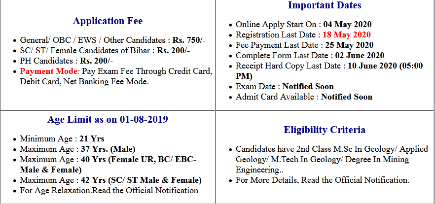 Bihar BPSC Mineral Development Officer Online Form 2020