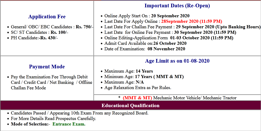 Bihar ITI-CAT Admission Online Form 2020 (Re-Open)