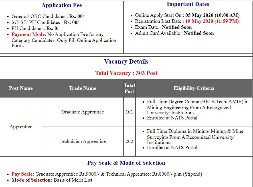 WCL Western Coalfield Apprentice Online Form 2020