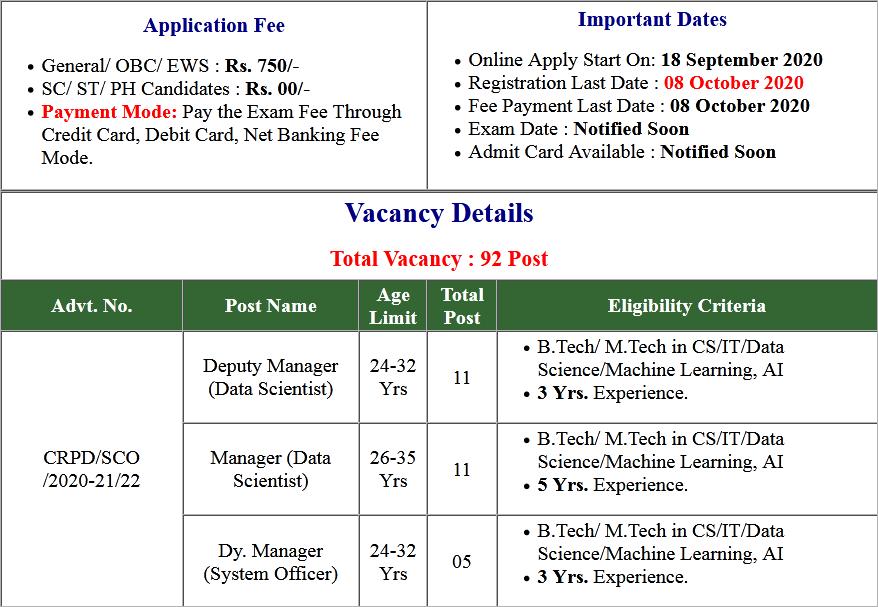 SBI Specialist Cadre Officer SCO Online Form 2020