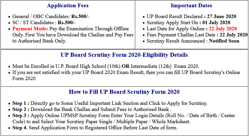 UP Board Class 10th & 12th Compartmental Admit Card 2020