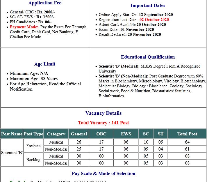 ICMR Scientist 'B' Online Form 2020