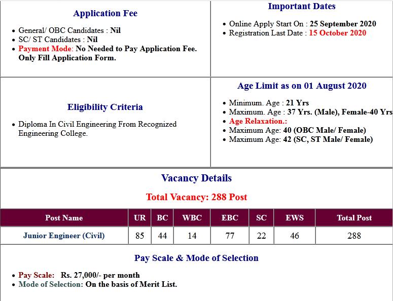 PHED Bihar Junior Engineer (Civil) Online Form 2020