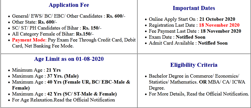 Bihar BPSC Auditor Online Form 2020