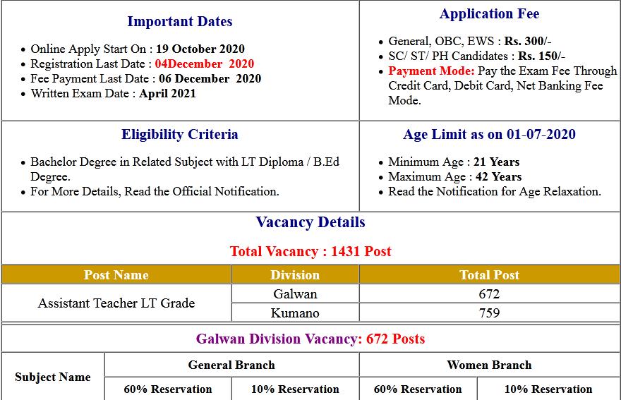 UKSSSC LT Grade Assistant Teacher Online Form 2020