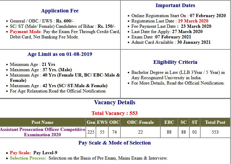 BPSC APO-  Assistant Prosecution Officer 2020 Pre Exam Date 2021