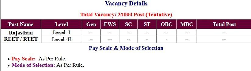 Rajasthan REET/ RTET Application Form 2021