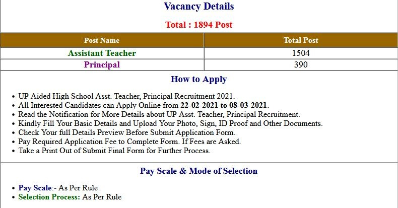 UP 1894 Junior Aided Assistant Teacher / Principal Bharti 2021