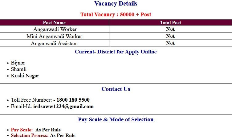 UP ICDS all District Aganwadi Recruitment Application Form 2021