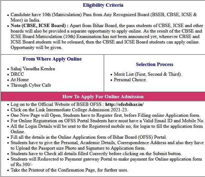 BSEB Intermediate 11th (OFSS)  Admission Form 2021