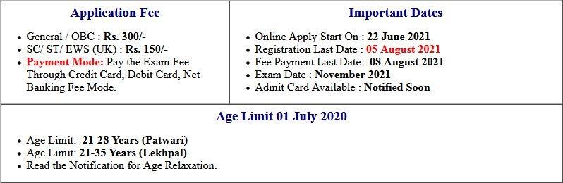 UKSSSC Lekhpal and Patwari  Application Form 2021
