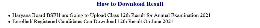 BSEH – Haryana Board Class 12th Exam Result 2021