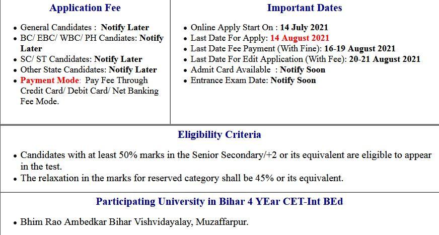 Bihar CET INT B.Ed Application Form 2021