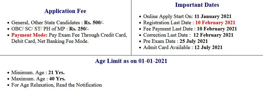 MPPSC- State Services and Forest Services Pre Exam Admit Card 2021