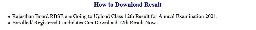 RBSE – Rajasthan Board Class 12th Exam Result 2021