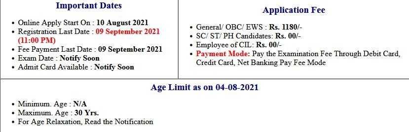 CIL Coal India Management Trainee Application Form 2021