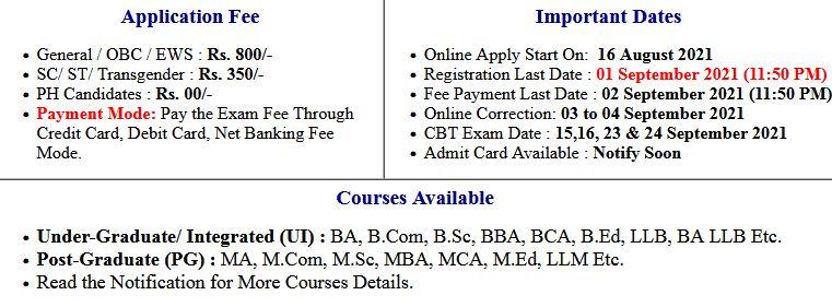 CUCET Admission  Application Form 2021