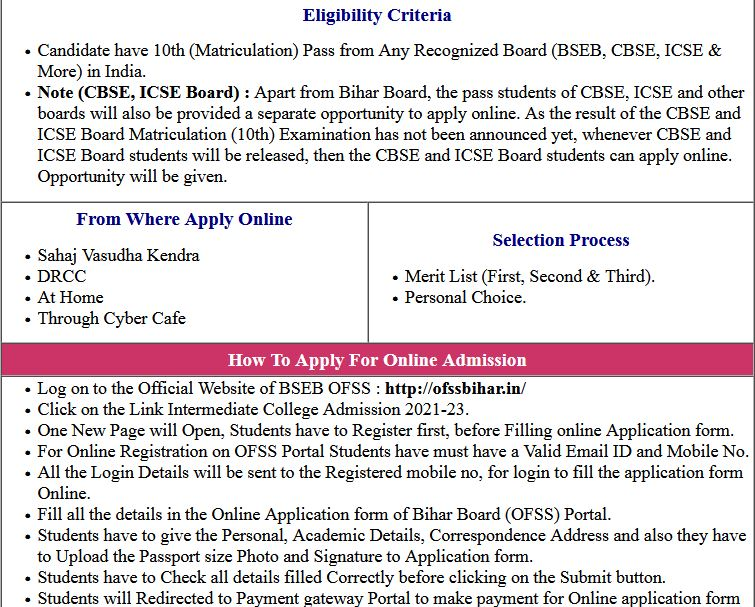 OFSS (BSEB) Intermediate (11th) Admission 2nd Selection List 2021