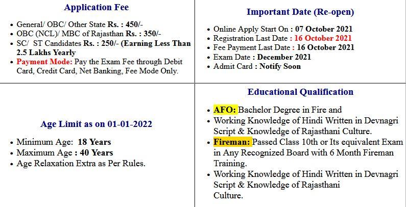 RSMSSB Fireman and AFO Application Form 2021