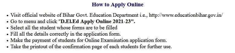 Bihar D.El.Ed  District Wise Admission Final Merit List 2021-23